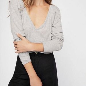 Free People Rock The Boat Ribbed V-Neck T-shirt